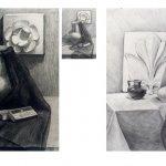 Учебная работа. Натюрморт с гипсовым орнаментом, бумага, карандаш, А3