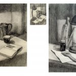 Учебная работа. Натюрморт с лампой, бумага, карандаш, А3