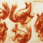 Учебная работа. Зарисовки чучел птиц и зверей, мягкий материал, А3