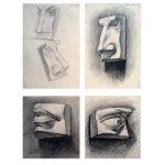 Учебная работа. Рисунок частей лица, бумага, карандаш, А3