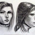 Учебная работа. Зарисовка головы человека в двух поворотах, каранд, А3