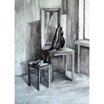 Учебная работа. Рисунок интерьера гризайль, 42х60 см