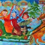 """Учебная работа. Курило Анастасия, 10лет, """"Народный праздник"""", бумага, гуашь, 42х60см"""